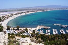 Het strand van Poetto, Sardinië.